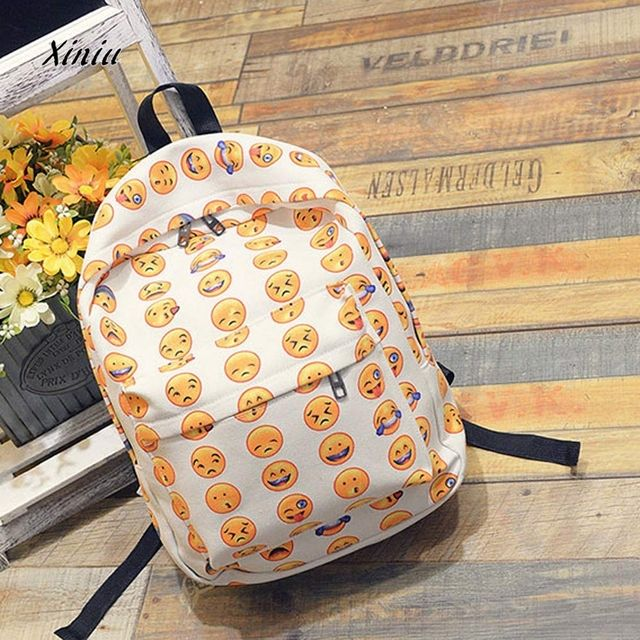 2018 2017  Women Bag Girls Smiling Face Backpack Cute Travel Satchel Shoulder Rucksack Shoulder bags famous brands