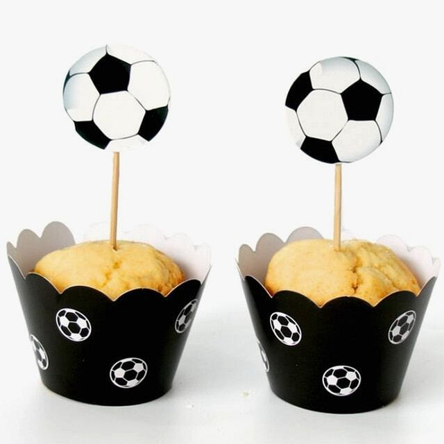 120pcs football sport theme Party Cupcake wrappers toppers kids birthday party decoration supplies cake accessory wholesale