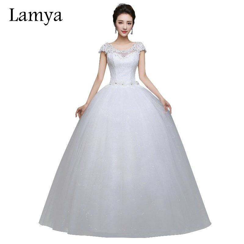 LAMYA Plus Size Cheap Short Lace Sleeve With Crystal Wedding Dress 2019 Princess Style Bridal Gown Discount vestido de noiva
