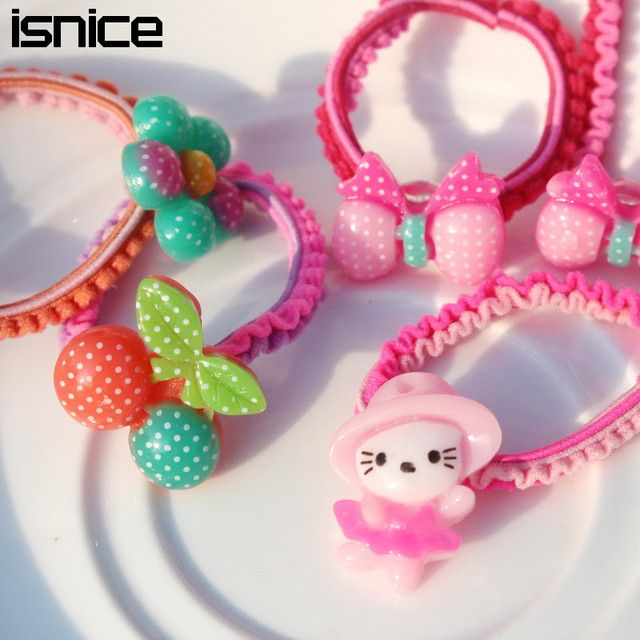 isnice Cartoon Colorful Plastic Elastics children's Kids candy color rubber band Girl Hair accessories headdress