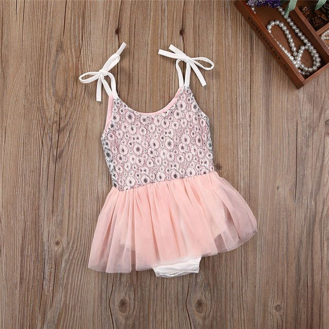 Pink Girl Kids Toddler Baby Clothing Sequins Princess Rompers Sleeveless Party Cute Ruffles Formal Tutu Baby Girls Clothes