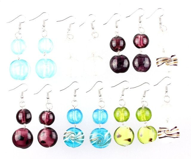 Wholesale Lot 6pairs Flower Style Silver Plated Elegant Classic Beauty Dangle Earrings Murano Glass Wedding Engagement Xmas Gift
