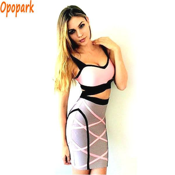 2016 new women summer 2 two piece dress spaghetti strap sexy busty bandage dress rayon bodycon night club party dresses HL420