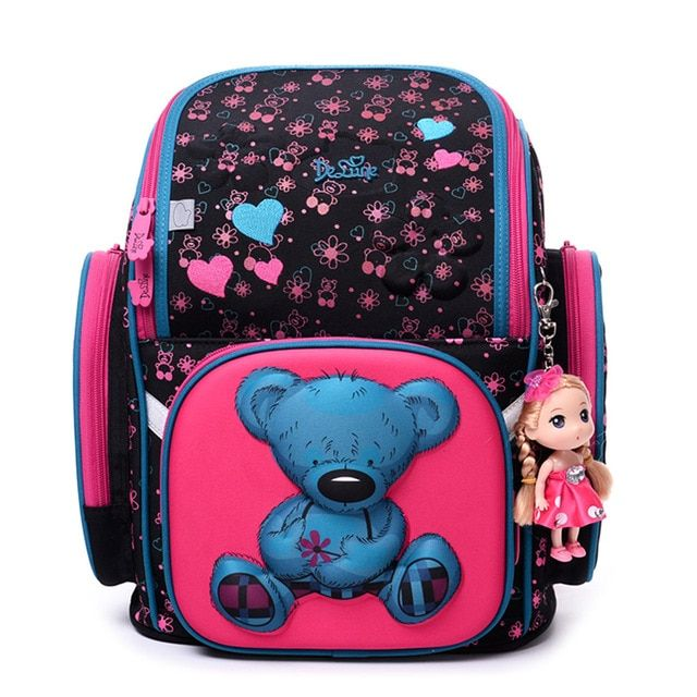 New 2017 Fashion Brand Cartoon Owl Cute Bear Girl Boys School Bags Waterproof Foldable Orthopedic School Backpacks Kids Bolsas
