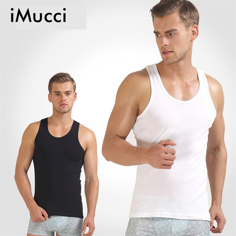 iMucci White Singlet Men Tank Tops Bodybuilding Cotton Sleeveless Undershirts Male Bodybuilding Tank Tops Summer Casual Vests