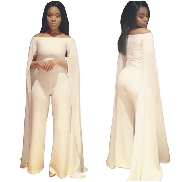 Echoine White Sexy Cap Cloak Sleeve Long Jumpsuit Sexy Women Slash Neck Bodycon Playsuits Plus Size Clubwear Bodysuit Overalls