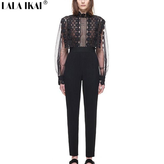 2017 New Brand Designer Balloon Sleeve Jumpsuit Woman Mesh Patchwork Stretch Tunic Lace Jumpsuits Women Boho Bodysuit KWA0095-5