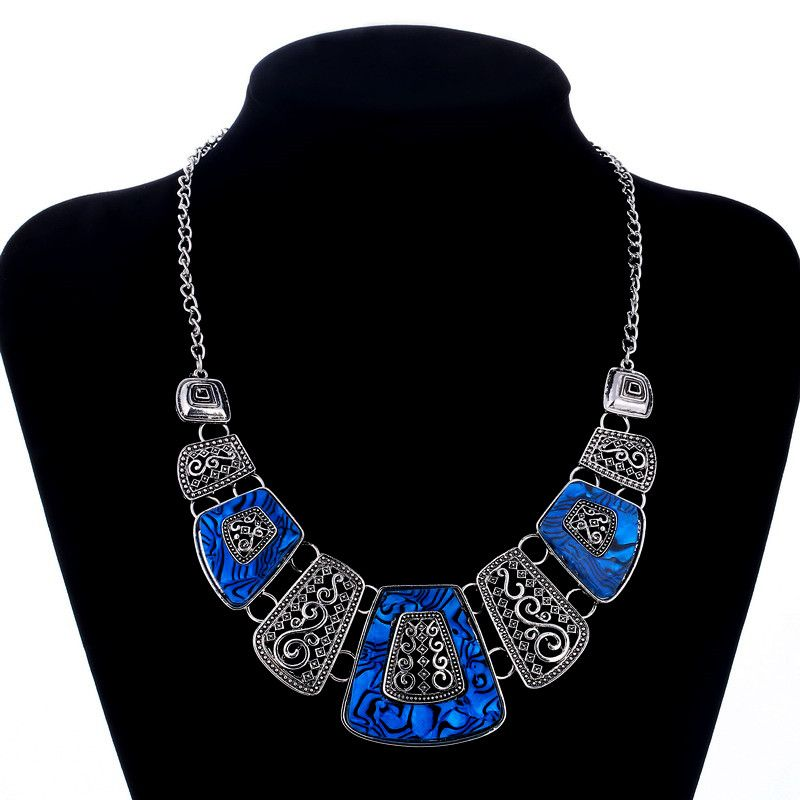 Fashion Power Silver Color Cord Enamel Statement Necklace & Pendants Vintage Gem Collar Choker Necklace For Women Jewelry