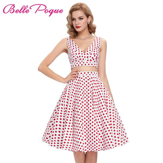 2017 Polka dots printed 60s 50s vintage dresses Robe Femme short swing 50s Flared 2 Piece Set Women Sexy Dress Two Piece outfits