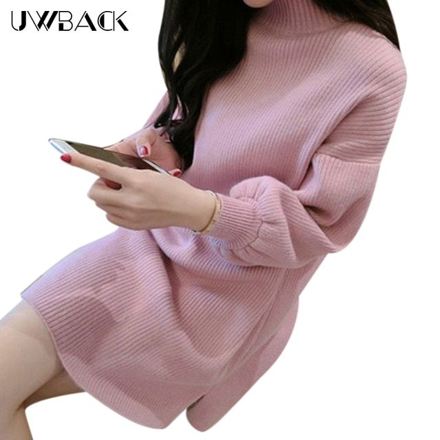 Uwback 2016 New Brand Autumn/ Winter Dress Half Turtle Neck Sweaters Women  Lantern Sleeve Pullovers Femme OB078