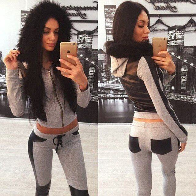 2016 Fur Collar 2 Piece Women Sets Ballinciaga Tracksuits Long Sleeve Woman Clothes Sets Women Casual Suit With HoodiesDYF101