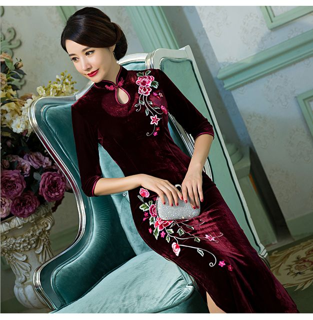 2016 new arrival velvet cheongsam dress vintage fashion plus size S-3XL solid color elastic chinese traditional dress 5 colors