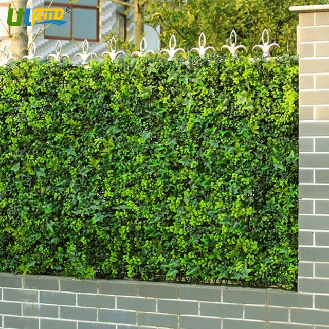 ULAND Plastic Plants Shrub Panel Artificial Boxwood Hedge Faux Fern Ivy Privacy Screen Fence Wall Garden Decor 12 pcs 50x50cm/pc