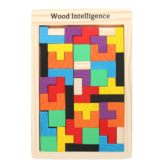 Hot! Children Wooden Puzzles Toy Tangram Brain Teaser Puzzle Toys Tetris Game Educational Kid Jigsaw Board Toy Gifts