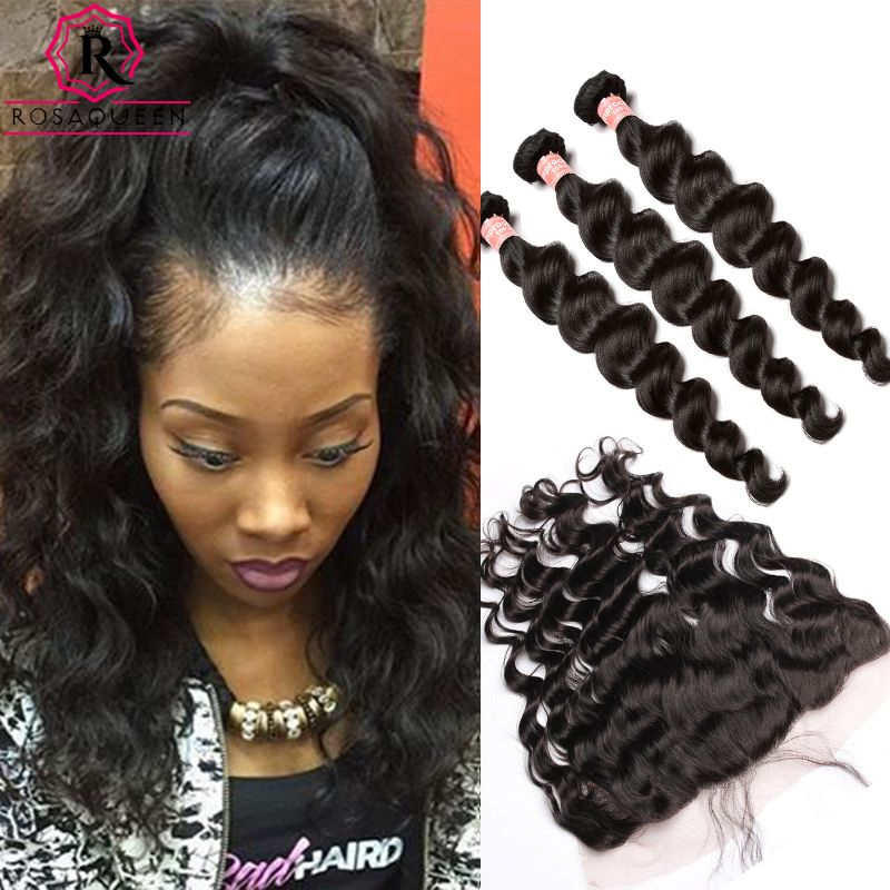 Lace Frontal Closure With Bundles Peruvian Virgin Hair With Closure 4 Pcs Human Hair 3 Bundles Loose Wave With Frontal Closure