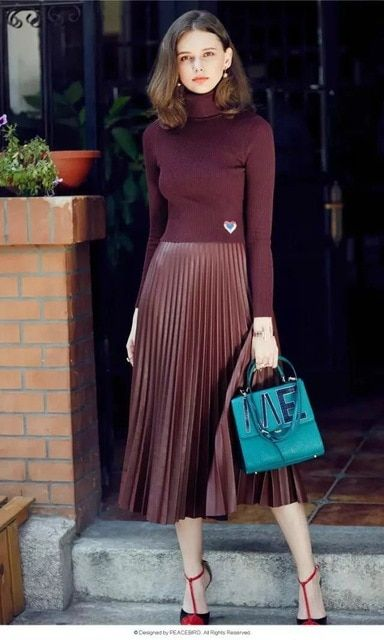 skirt women PU leather skirt Pleated High Waist Vintage Long Skirts 2016 Autumn Winter chic fashion Saia brand clothing 2016