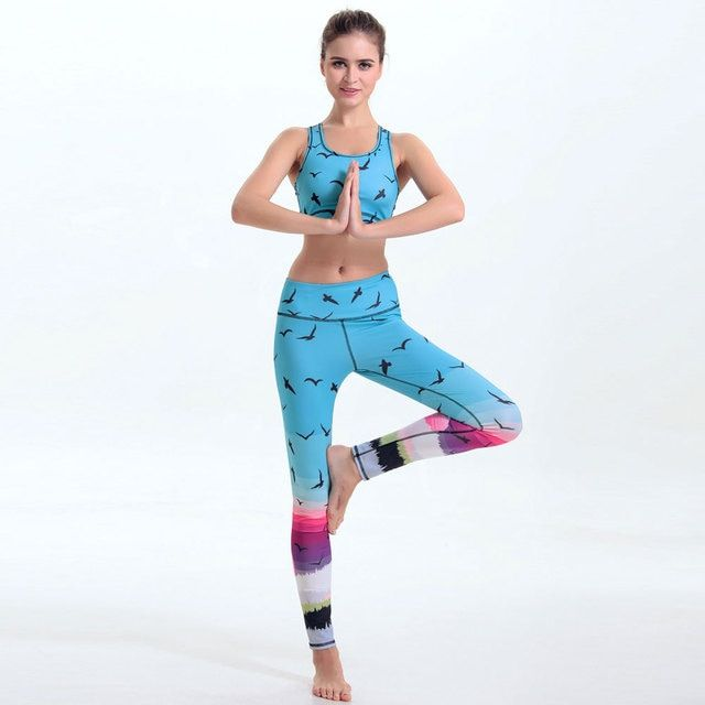 Hot Sale Women Exercise Yuga Set For Sportwear Suit Bohemia's Girl Digital Printing Lady Fitness Legging Clothing Workout Set