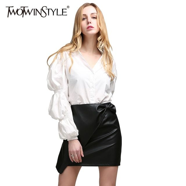 TWOTWINSTYLE 2017 Summer Women Sexy V Neck Tops Shirts Blouse Long Puff Sleeve Casual Clothes Korean Fashion White Spring New