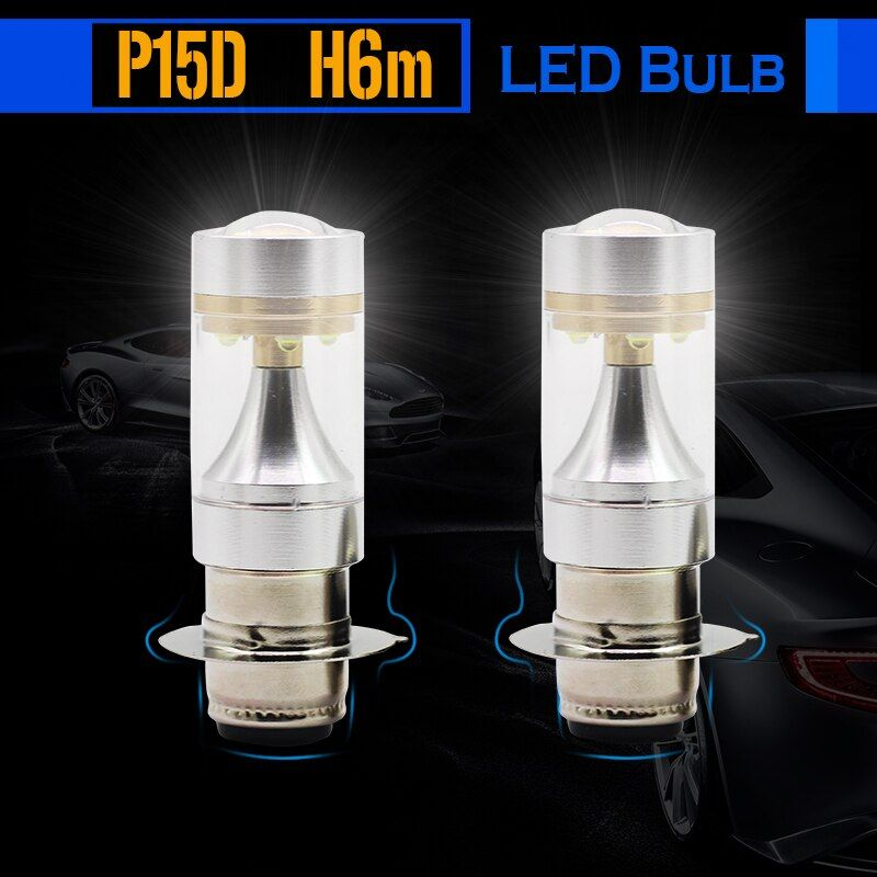 Cawanerl 2 x H6M P15D 30W LED Bulb Lamp 700LM 6000K White High Power Motorcycle Headlight Fog Light DRL Daytime Running Lamp