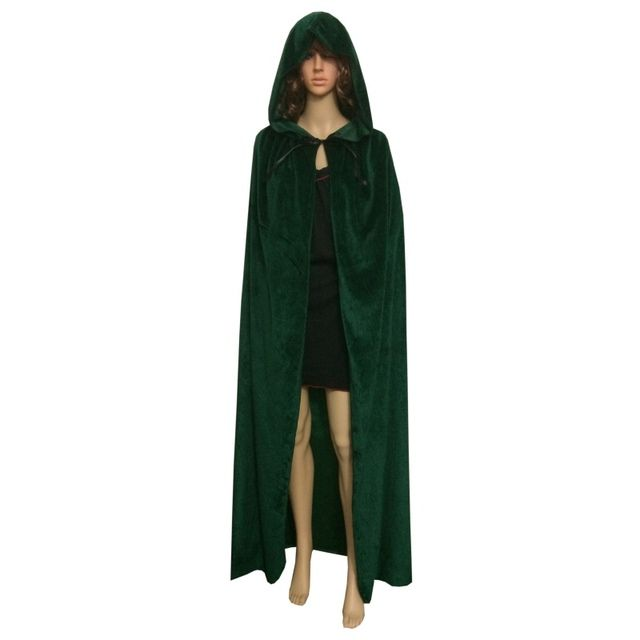 Gothic Hooded Velvet Cloak Wicca Robe Medieval Witchcraft Cape Halloween Costume S3