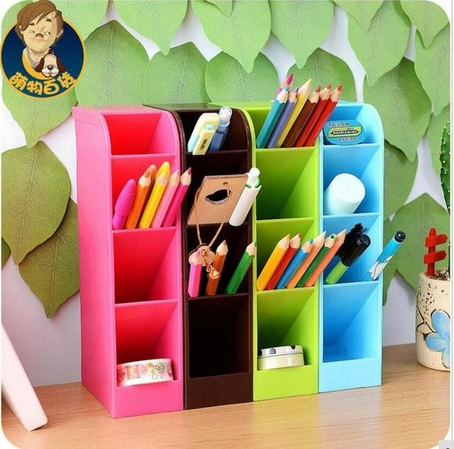 South Korea's desktop Pen Holders candy colors, multi-function stationery space Pen container box receive a case of small parts