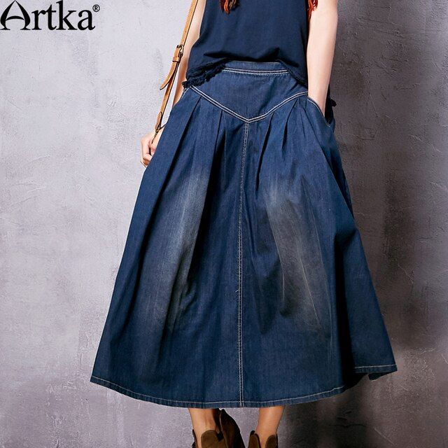 Artka Women's 2017 Autumn Vintage All-match Embroidery Denim Skirt Fashion Comfy Mid-calf Wide Hem Pleated Skirt Q810065C
