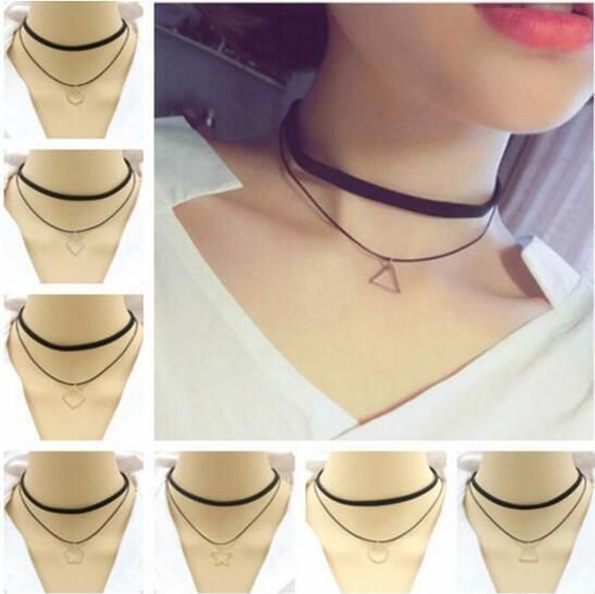 na064 Vintage velvet black Leather rope Chokers necklace Geometric triangle shape round square star Pendant clavicle necklace