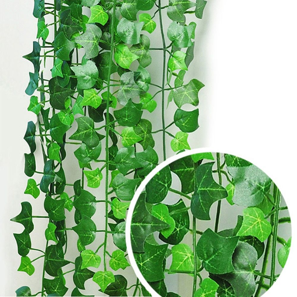 5PCS Garland Plants Vine Flowers Home Wedding Decoration Mariage Natural 1Pc 8.2Feet Green Artificial Hanging Ivy Leaves