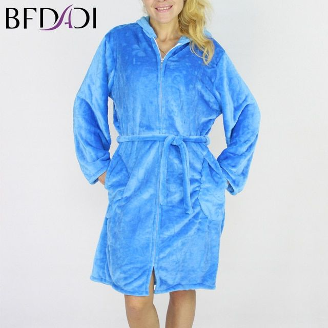BFDADI Autumn-Winter Zipper Bath Robe Female Coral Fleece 5 Colors Night Gown Spa Bathrobe Pajamas Long Sleeve Womens Nightwear