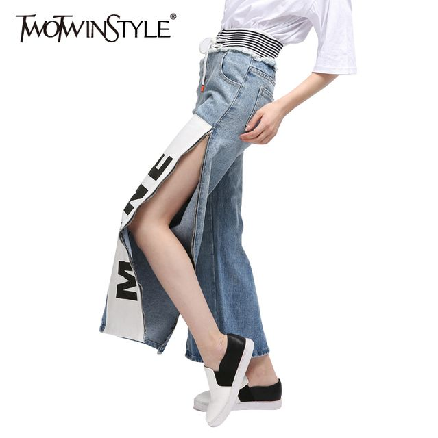 TWOTWINSTYLE 2017 Summer Women Side Zipper Slit Jeans High Waist Print Denim Straight Pants Trousers Boyfriends Large Big Sizes
