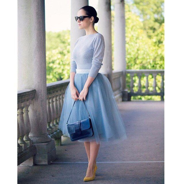 Modest Blue Color Tulle Mid Calf Tulle Skirt 4 Layers Tulle And 1 Lining Fashion Skirts For Women Women Clothing