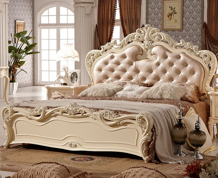 Double bed design luxury home used king size soft bed 0409-A816