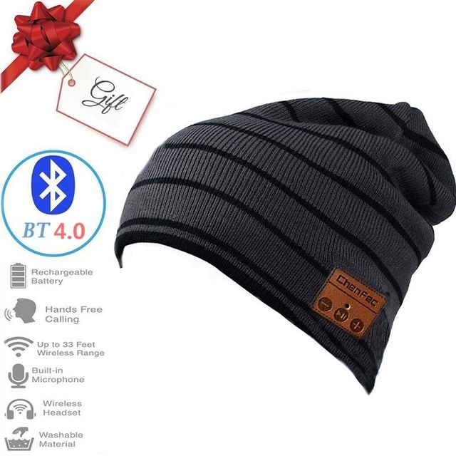 Bluetooth Music Hat, Bluetooth 4.0 Beanie Warm Knitted Winter Hat Wireless Hands-Free Headset Built-in Mic&Speaker-BlackGray
