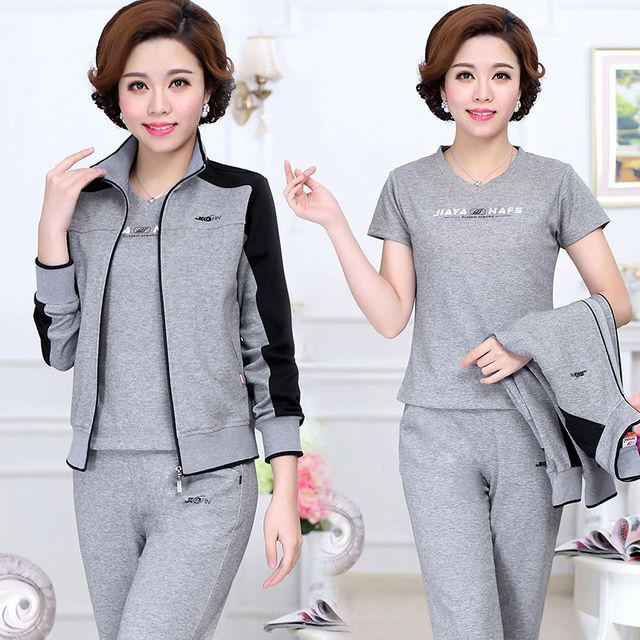 Color block loose older women mother sportswear suit casual suit middle-aged cotton three pieces tracksuit set plus size L - 4XL