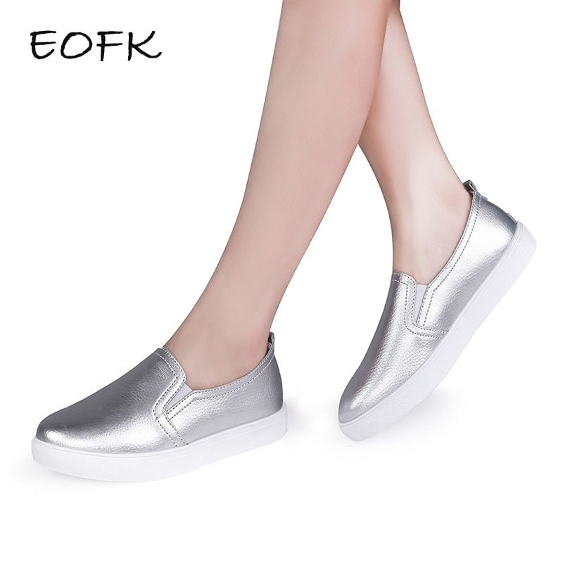 EOFK High Quality Fashion Women Flats Loafers Casual Leather Shoes Woman Loafer Slip On Shoes For Women Moccasins Female