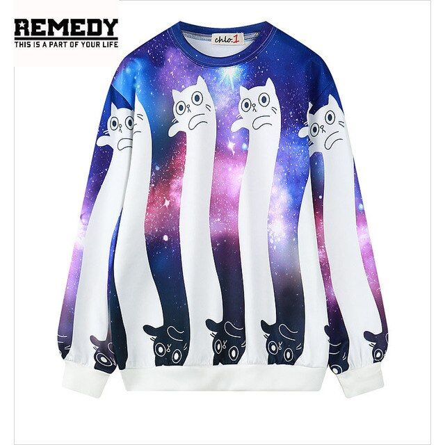 2017 New K-POP Fashion Women Cartoon Sweatshirt Print Galaxy Cat  Short Sweatshirts harajuku 3d Hoodies Sweatshirts For Women
