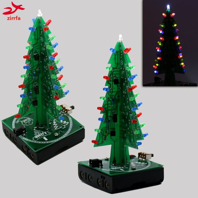New 3D Christmas Trees three color led electronic diy kit for Christmas gift/New Year gift