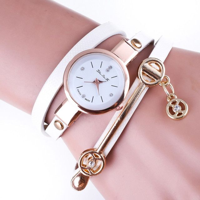 Brand Bracelet Watch Women New Dress Gold Crystal Quartz Wristwatches PU Leather Rhinestone Analog Watches Relogio