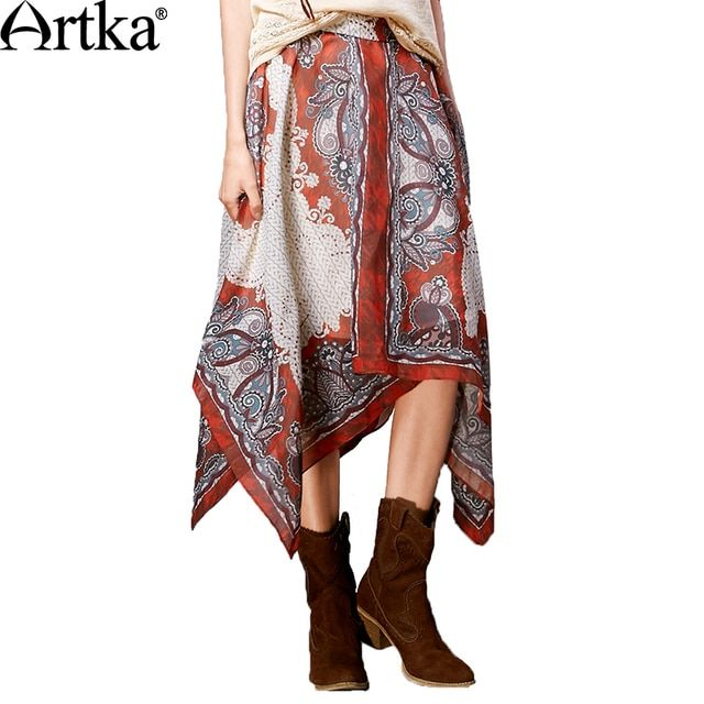 Artka Women's Autumn New Boho Style Ethnic Printed Skirt Vintage All-match Invisible Zipper Irregular Hem Skirt QA10066X