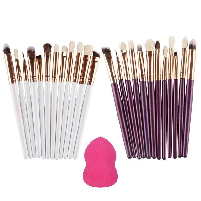 12pcs Professional Makeup Foundation Powder Eyeshadow Eyeliner Brush Set + 1 Foundation Powder Sponge Puff Drop Shipping