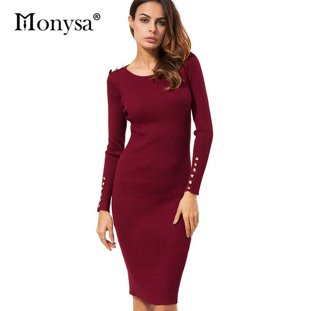 Casual Knitted Dresses Autumn Winter New Arrival 2017 Fashion Buttons Bodycon Dress Women Sweater Dress Black Red Apricot