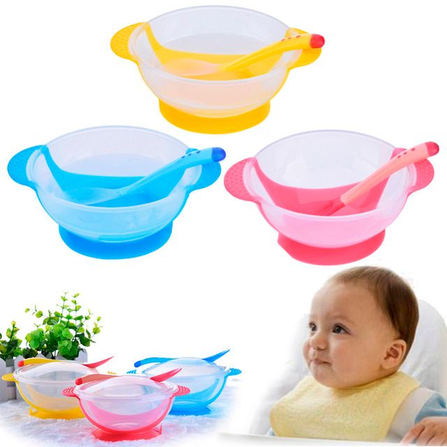 Toddler Baby Bowl with Spoon Suction Learning Cup Assist Food Bowl Dish Sensing Spoon Children Tableware Covered Bowl