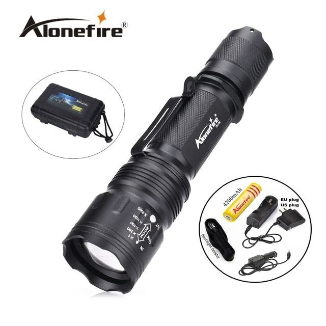 TK104 CREE XM L2 LED 8000LM Zoomable Waterproof rechargeable portable Tactical Gun Flashlight Pistol Handgun Torch light Lamp