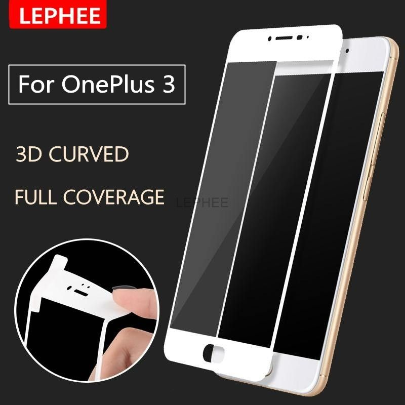 LEPHEE Oneplus 3 Tempered Glass Oneplus 3T 3D Curved Full Coverage Screen Protector Carbon Fiber Soft Edge One Plus 3 / 3T Film