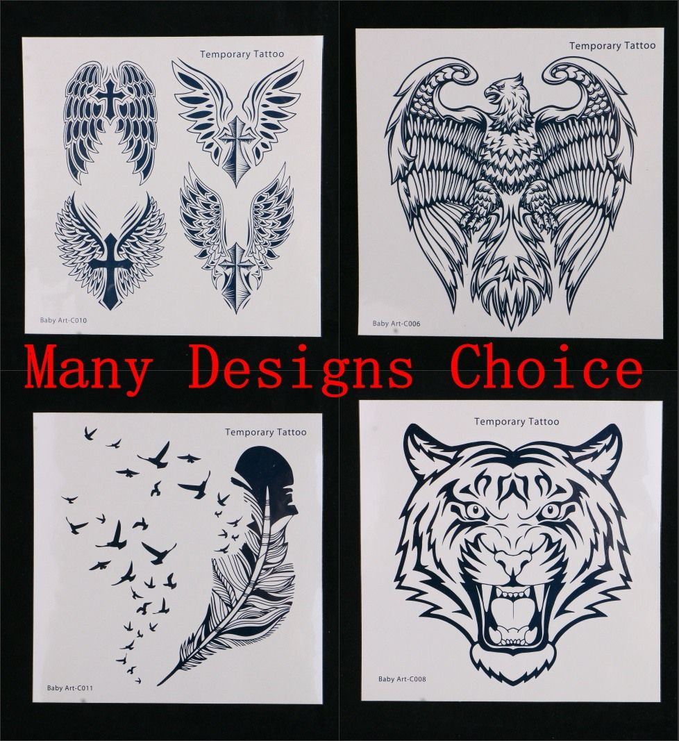 Hot Body Art  Temporary Tattoos Stickers Many Designs Choice Animal Men Decoration Sticker Eagle Tiger Butterfly Wings Feather