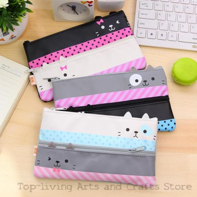 (1Pc/Sell) Kawaii Pencil Case Canvas School Supplies Bts Stationery Gift School Cute Pencil Box Pencilcase Pencil Bag