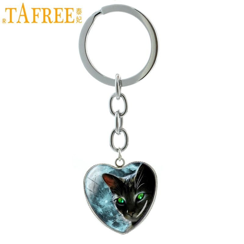 TAFREE Halloween jewelry Green Eyes Black Cat keychain for cat lover Milky Way galaxy nebula heart pendant key chain ring HP547