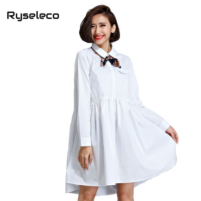 Ladies Spring Oversize Sexy Shirt Dresses Women Fall Cotton Plus size White Long Sleeve Floral Bow Casual Office femme Vestidos
