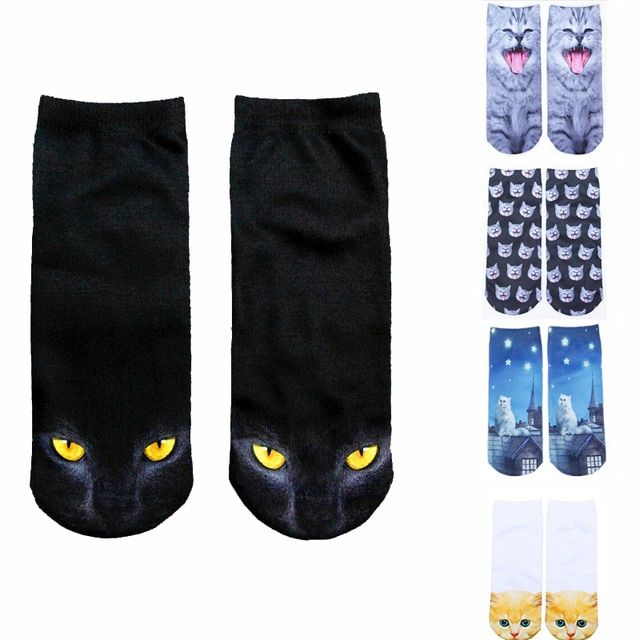 Vintage 3D Printed Low Cut Socks Girls Cute Kawaii Cartoon Cat Animal Funny Cotton Socks Women Xmas Autumn Winter Warmer Socks
