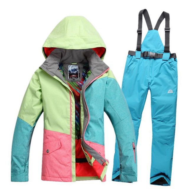 2017 ropa ski mujer suit 5 kinds of color pants Windproof Breathable warmth Outdoor skiing jacket women coat campera nieve mujer